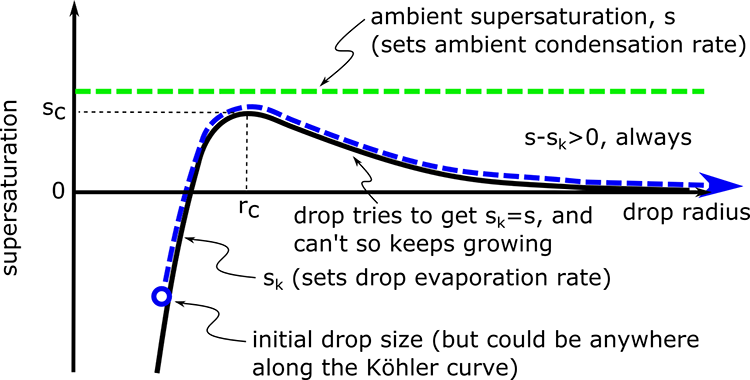 Koehler curve for a drop in an environment where the ambient supersaturation is greater than the entire Koehler curve as described in the text below
