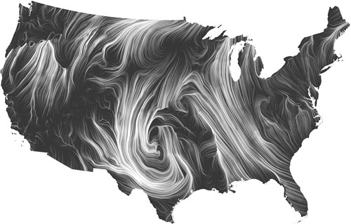Wind map of wind streamlines over the continental United States as described in the caption and text above