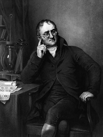 Drawing of John Dalton sitting at a desk