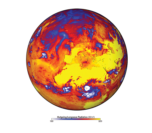 earth in blue, yellow, orange and red infrared image