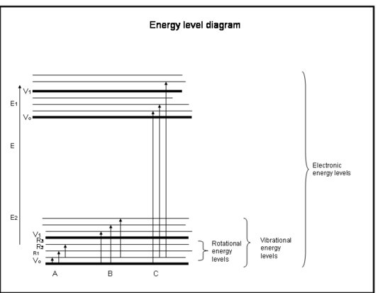 An energy level diagram for a molecule as described in the text above and caption