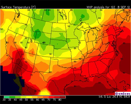 Surface temperature map for North America
