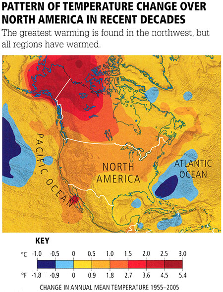 Pattern of Temperature change in N. America in recent decades