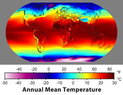 Annual Mean Temperature shown on world map. Red (hot) at equator, gets colder further away till white (cold) on poles