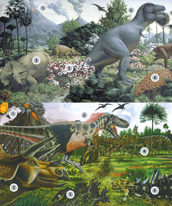 Age of Reptiles mural showing a variety of dinosaurs and an erupting volcano in the background