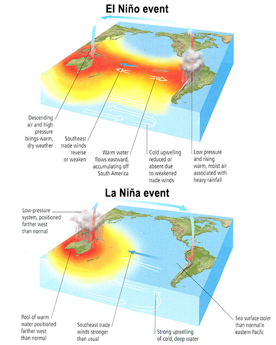 Diagrams of el niño and la niña events. See link to text description.