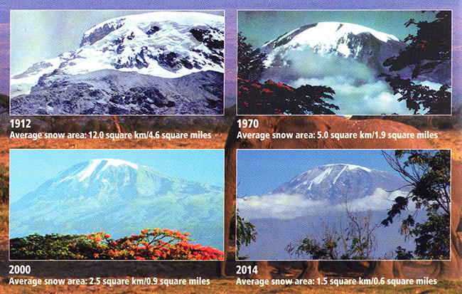 Average area of snow on Kilimanjaro. 1912 = 12 square km, 1070 = 5 square km, 2000 = 2.5 square km, 2014= 1.5 square km.