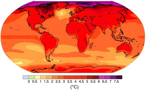 Model projections of surface temperature changes by end of 21st Century in A1B Emissions Scenario (based on average over all IPCC models).