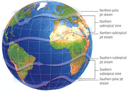 Globe showing the Subtropical Zone Expansion including the Northern hemisphere and the Southern hemisphere.