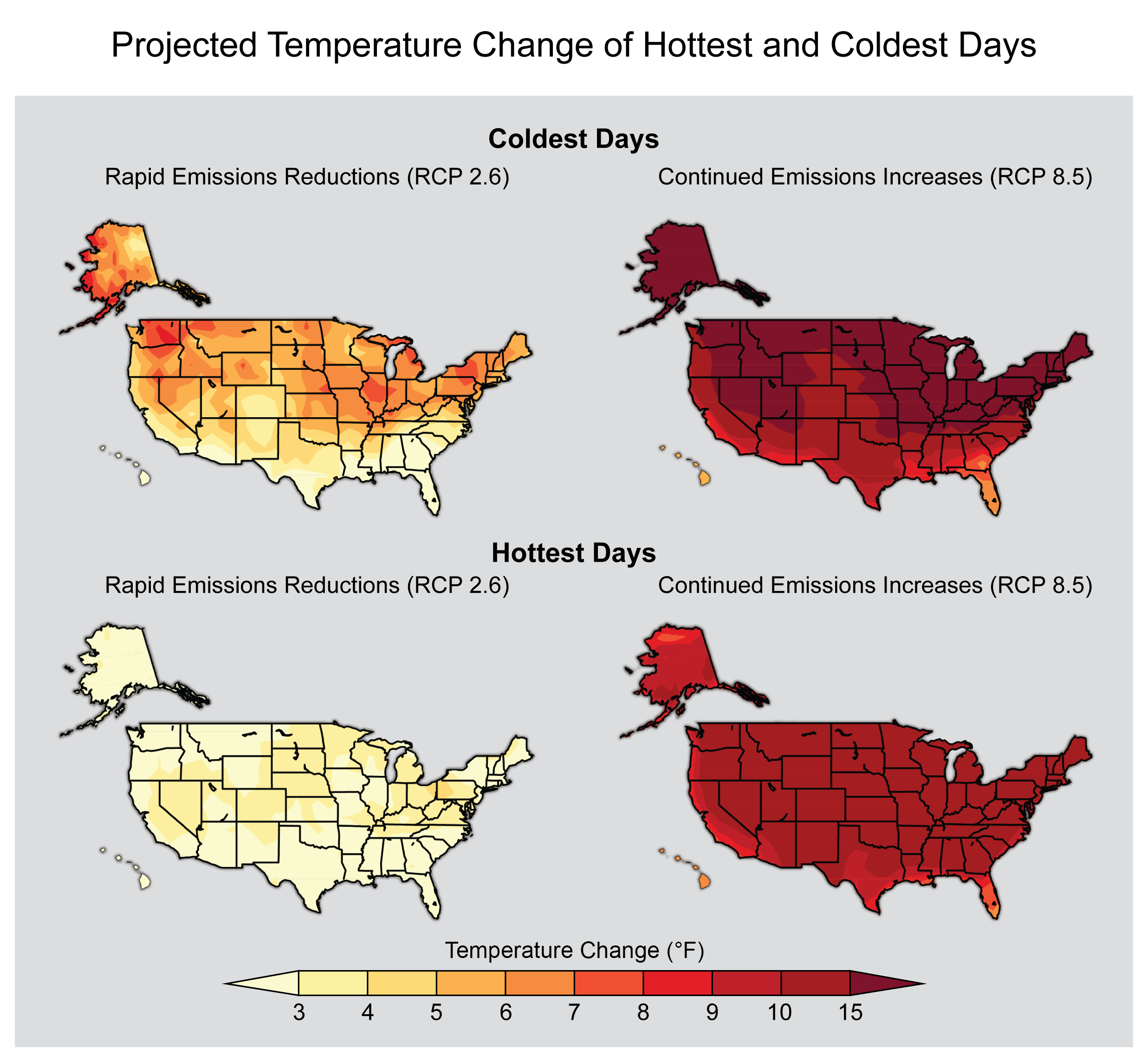 Changes in the coldest (top) and warmest (bottom) temperature extremes from two different RCP scenarios