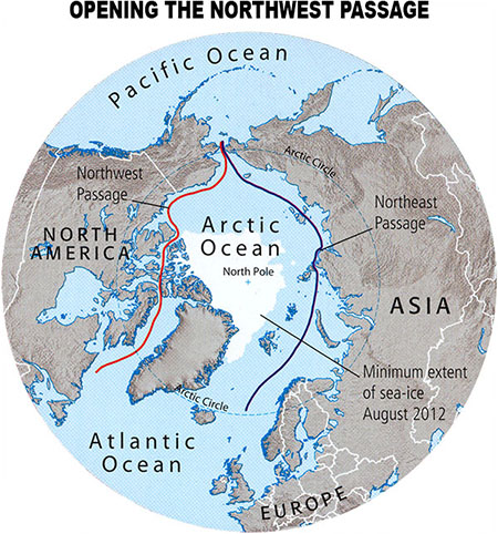 Map illustrating the opening of the Northwest Passage.
