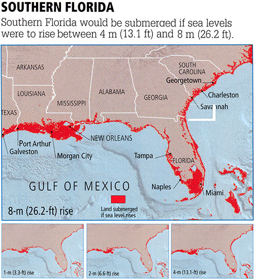 Maps of Lost Florida Coastal Land as a Function of Increasing Levels of Global Sea Level Rise