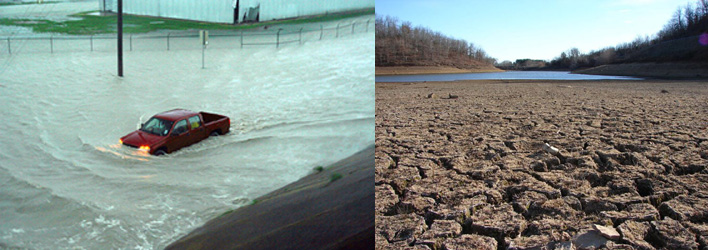 Left: example of flooding; Right: example of drought
