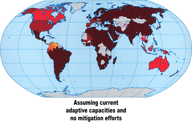 Map showing climate change vulnerability in 2100 assuming current adaptive capacities and no mitigation efforts