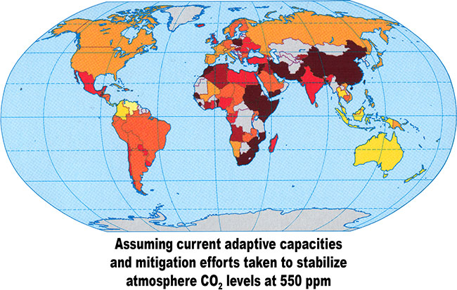 Climate change vulnerability in 2100 assuming current adaptive capacities and mitigation efforts taken to stabilize atmosphere CO2 levels at 550 ppm