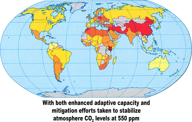 Climate change vulnerability in 2100 with both enhanced adaptive capacity and mitigation efforts taken to stabilize atmosphere CO2 levels at 550 ppm.