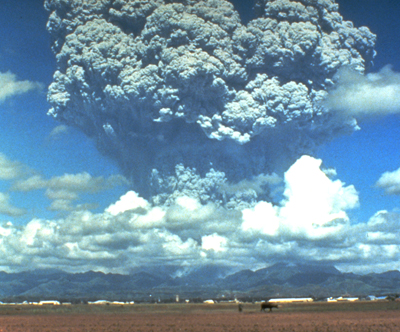 The 1991 Mt. Pinatubo Eruption in the Philippines, shows a huge cloud of dust