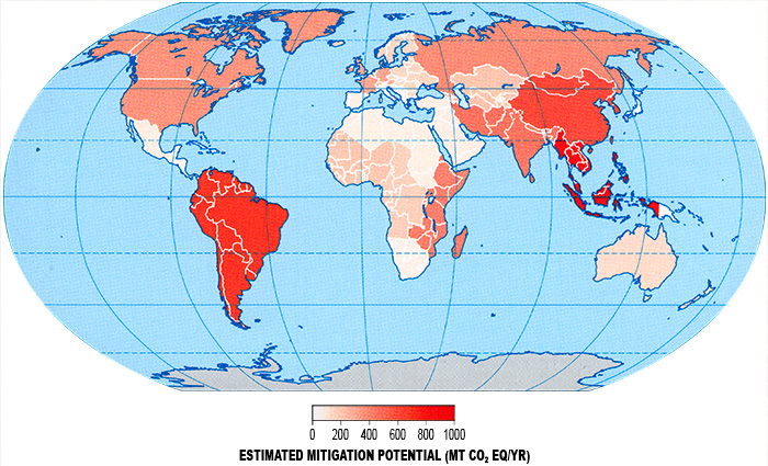 Map showing estimated mitigation potential in the agricultural sector by 2030.