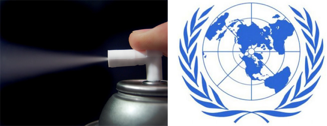 A spray can using CFC propellant on the left and the United Nations Emblem on the right.