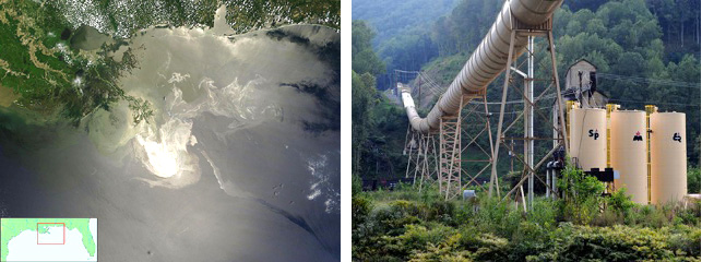 Deepwater Horizon oil spill disaster (left) and Upper Big Ranch Coal Mine (right)
