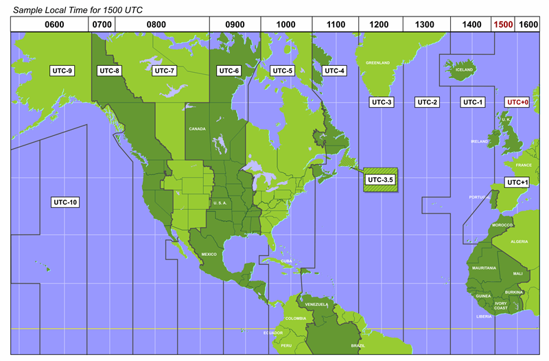 Time zone map for a large portion of the Western Hemisphere