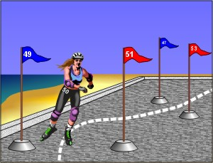 A cartoon of a person wearing roller-blades who is skating between various flags.