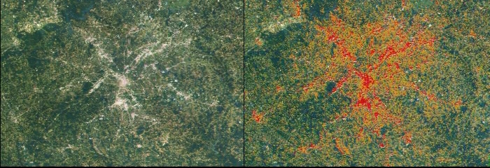 Satellite maps of Atlanta, Ga. Adequately described in the text and image caption.