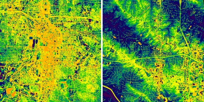 Left image (urban) is almost completely covered with orange and yellow, while right image (rural) shows the presence of areas of lower temperature.