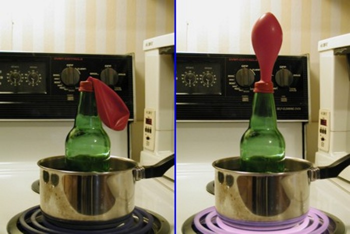 A bottle covered by a balloon illustrating how gasses expand when heated.
