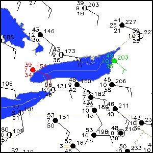 Surface map surrounding Lake Ontario. Stations at Toronto, Ontario and Watertown, NY are pinpointed.