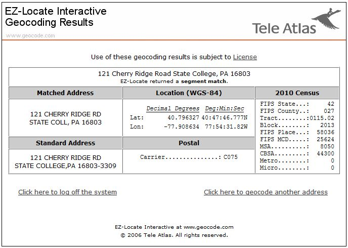 Screenshot of Tele Atlas geocoding results window