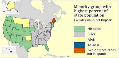 Chloropleth map showing state minority groups with highest percent population