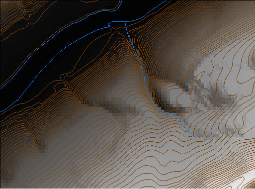 Hypsography and hydrography layers of a Digital Line Graph viewed in Global Mapper software