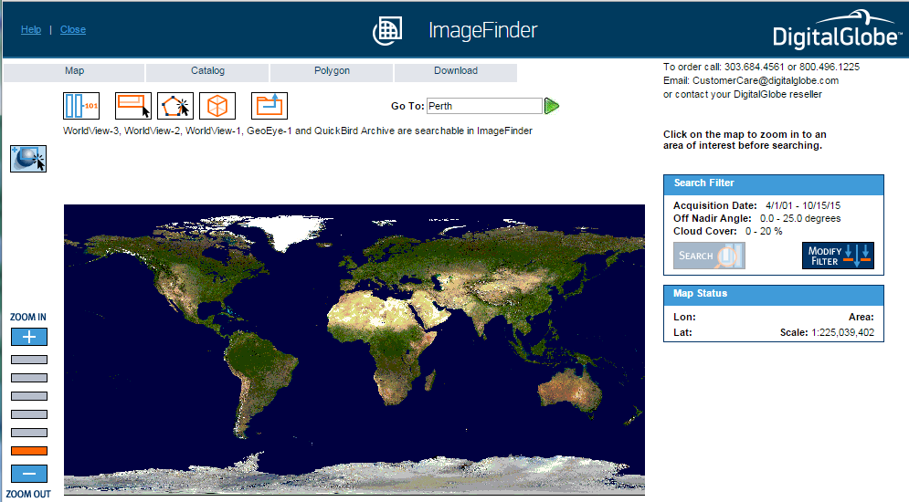 DigitalGlobe ImageFinder tool interface