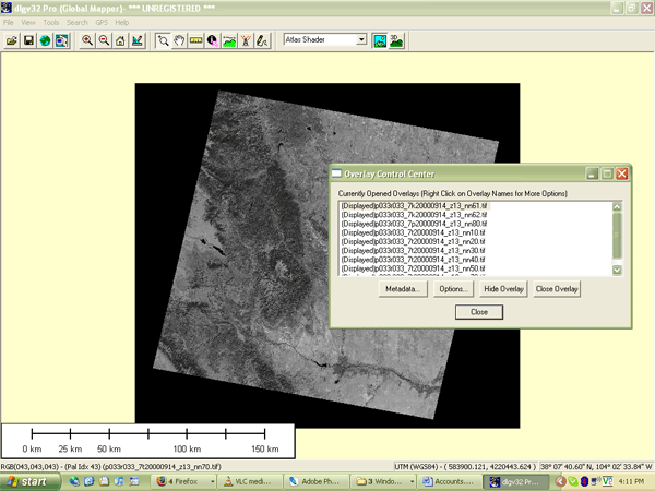 Landsat image data viewed in Global Mapper software
