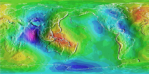 World map showing the differences in elevation between a geoid and a reference ellipsoid.