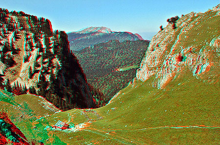 Anaglyph stereo image of French Alps made through red-green glass