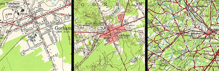 Image shows the town of Gorham at three different scales, see text below