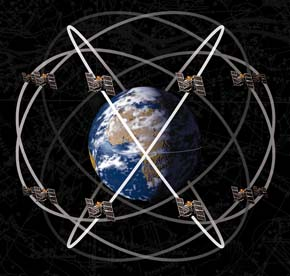 GPS satellites and their paths around Earth shown by white rings
