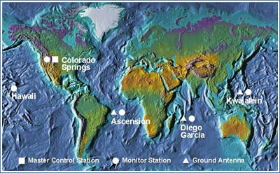 World map showing control segments of the global positioning system, Colorado Springs is the master control station