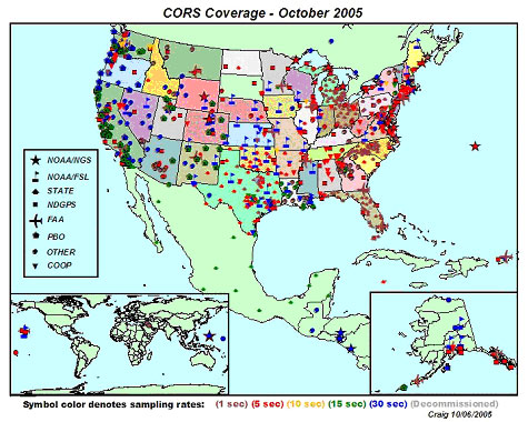 US map showing CORS coverage as of October 2005