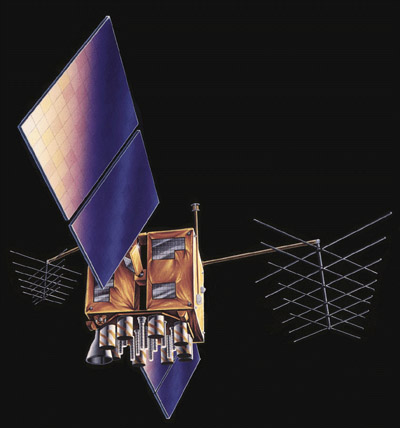 Computer-generated image of NAVSTAR satellite