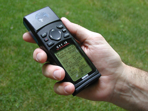 Handheld GPS device in a hand