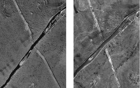 Comparison of unrectified vertical aerial image and orthoimage of same scene