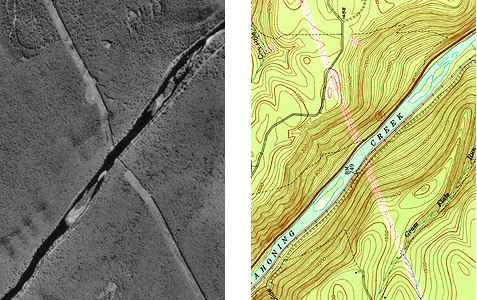 Another image comparison of topographic map and unrectified aerial image