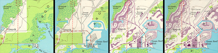 Series of four images of a map of the same location showing revisions adding roads and buildings