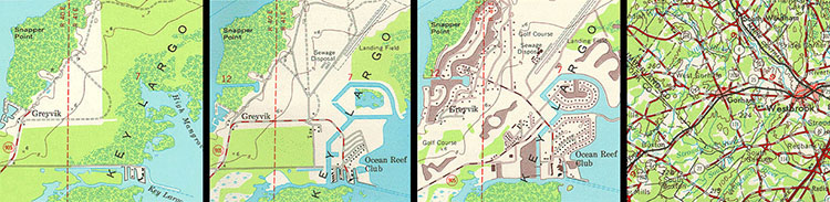 Series of four images of a map of the same location showing revisions