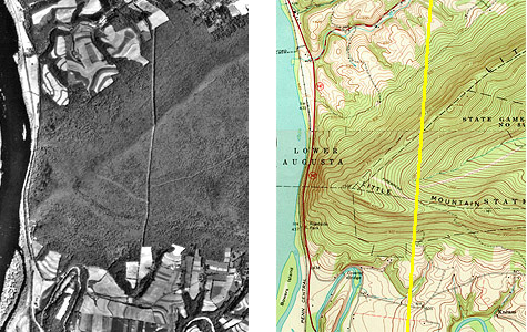 Comparison of topographic map (right) and unrectified aerial image (left)