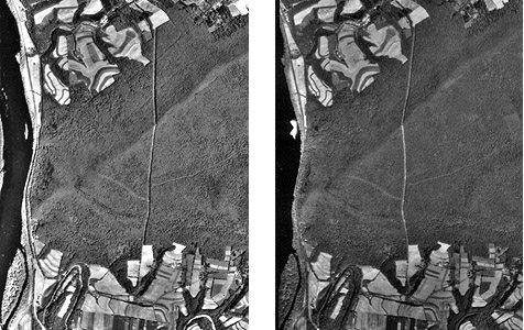 Two images of the same aerial area that make up a stereopair