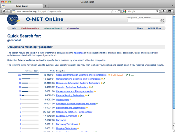 Screen capture of Department of Labor's O-Net site